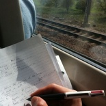 Doing homework on the train