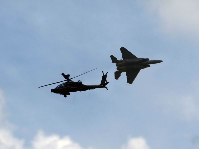 Aerial displays of Apache and F-15SG. on 55th National Day