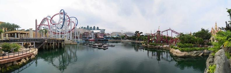 180 degree panorama of Universal Studios Singapore Lagoon