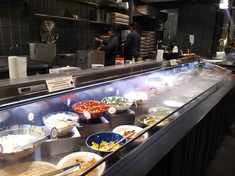 The restaurant main salad bar.