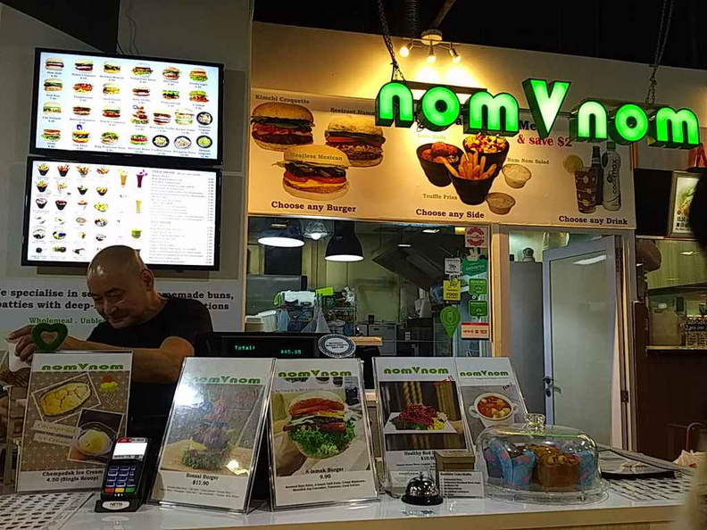 nomVnom Vegan Fast Food store counter at Clark Quay basement
