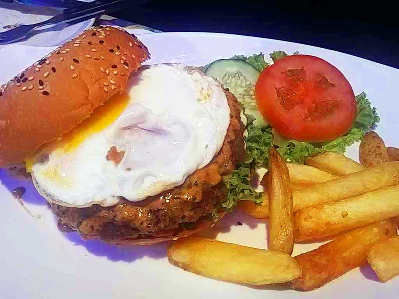 Burger with sunny fried egg