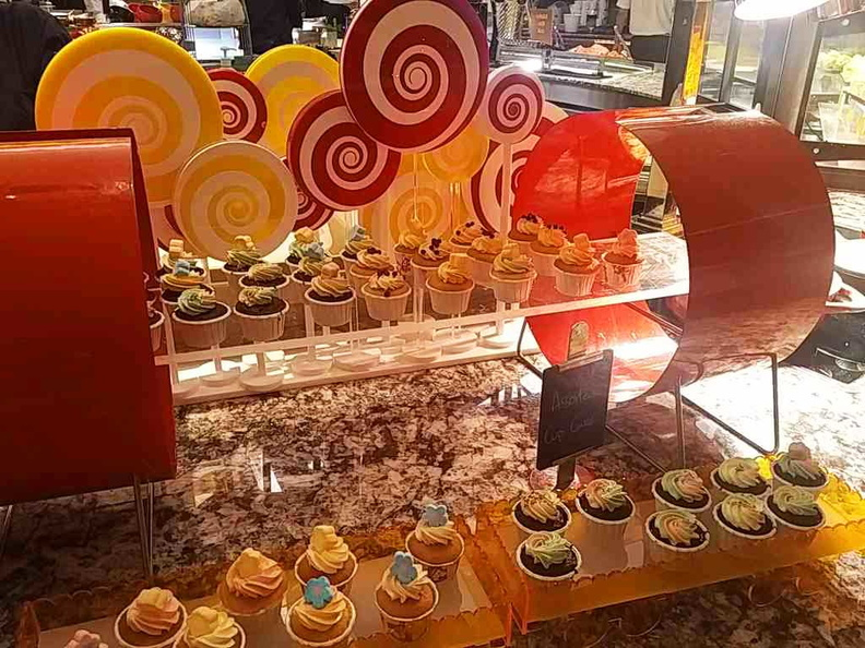 Fancy dessert counters keeping with the carnival theming