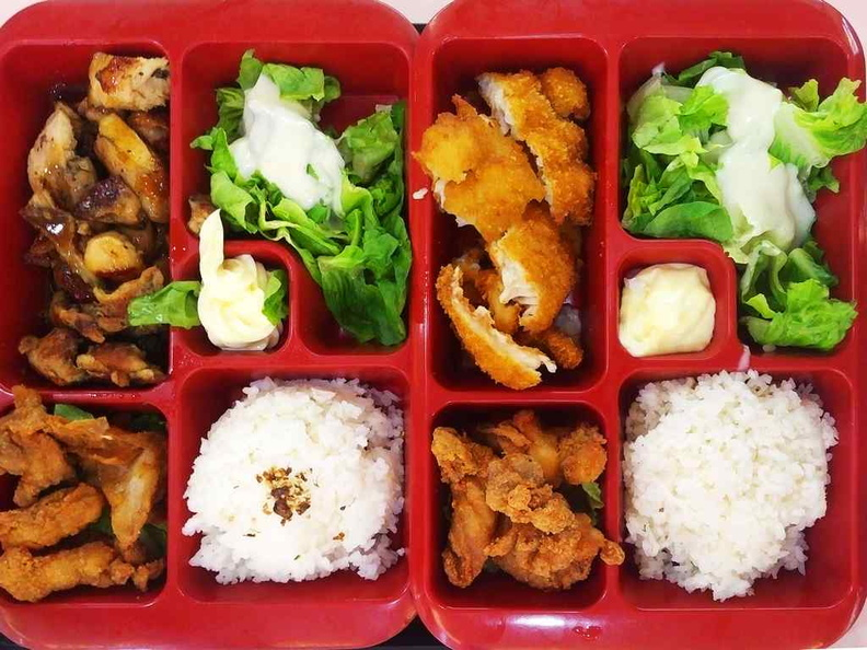 The less popular, but totally awesome Bento sets with fish or chicken katsu offerings. At a bargain under $10 a pop too!