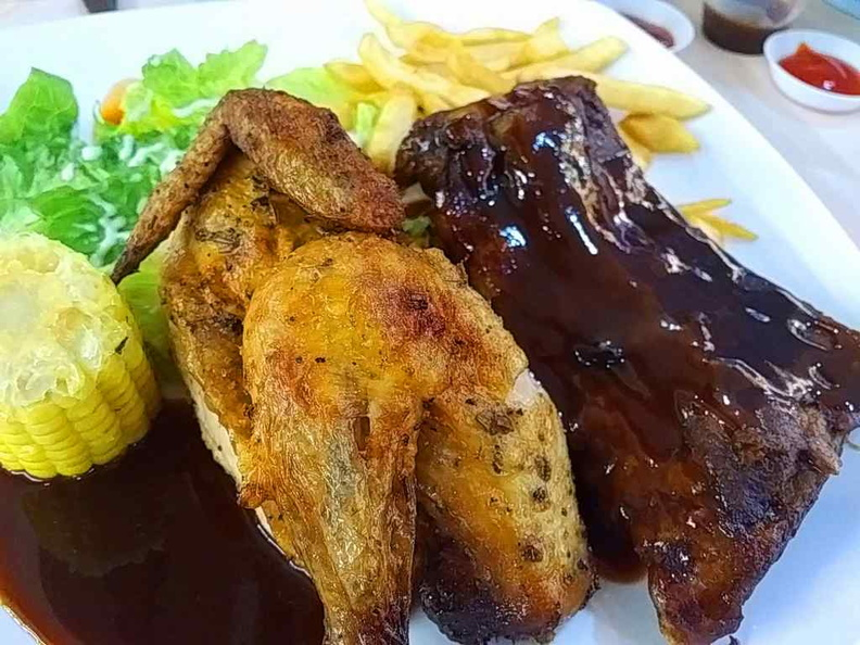 Half chicken and ribs combo