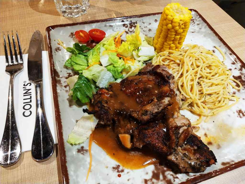 The all time chicken chop and pasta favorite presented in a more Atas style at the same good price!