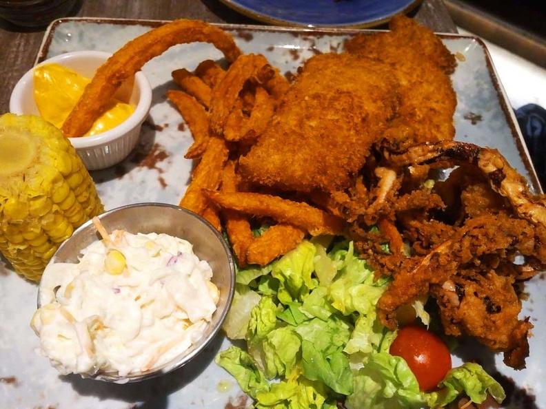 Ocean Haddock fish and Tempura squid Seafood platter