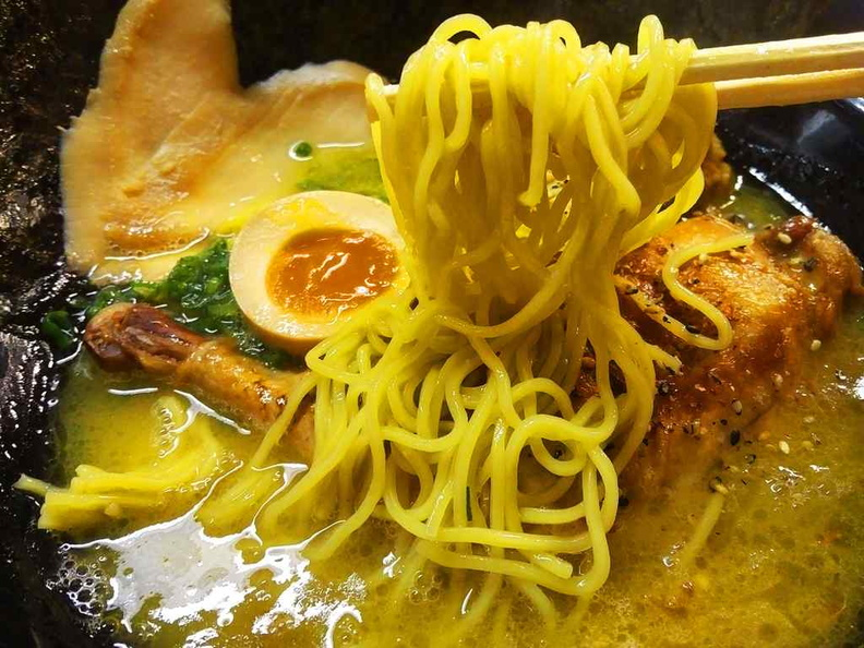 The noodles are thick and springy. You have a choice of noodle thickness if need be