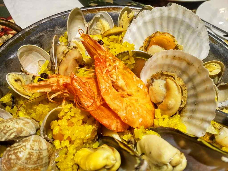 Mai Maison clams, mussels and prawns in your Seafood Paella ($27.80) for sharing