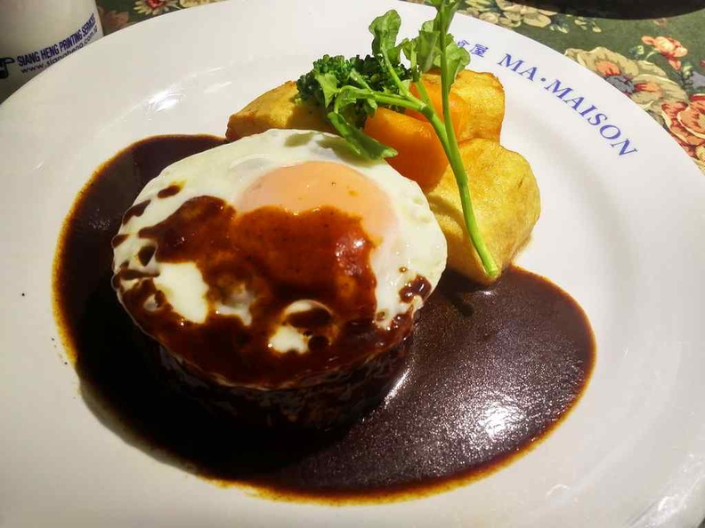 Hamburg (Hamburger) Steak . ($17.80) is a Japanese invention and favorite all over the globe. Mai Maison is one of the places to try them
