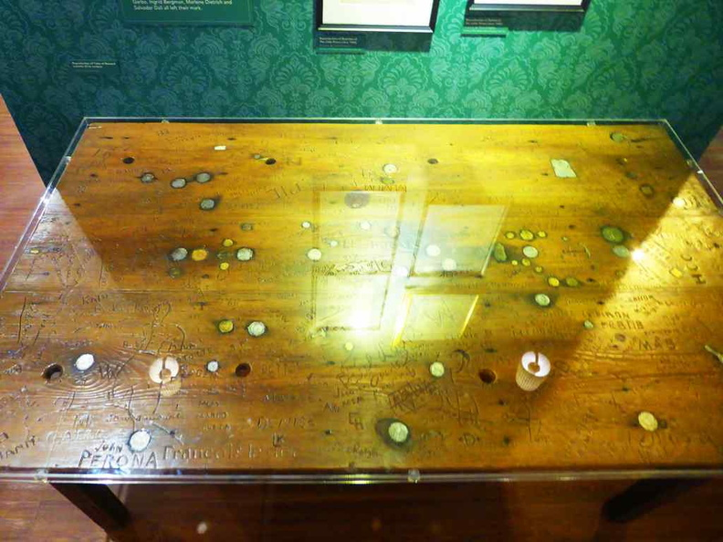 The wooden graffiti table on display. It had seen quite some action