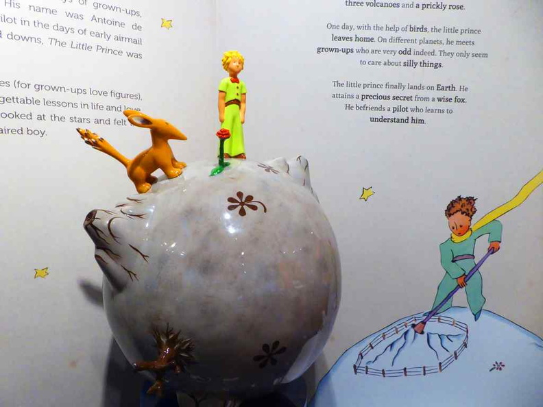 Little Prince on Asteroid B-612 as shown through a model by French artist Arnaud Nazare-Aga