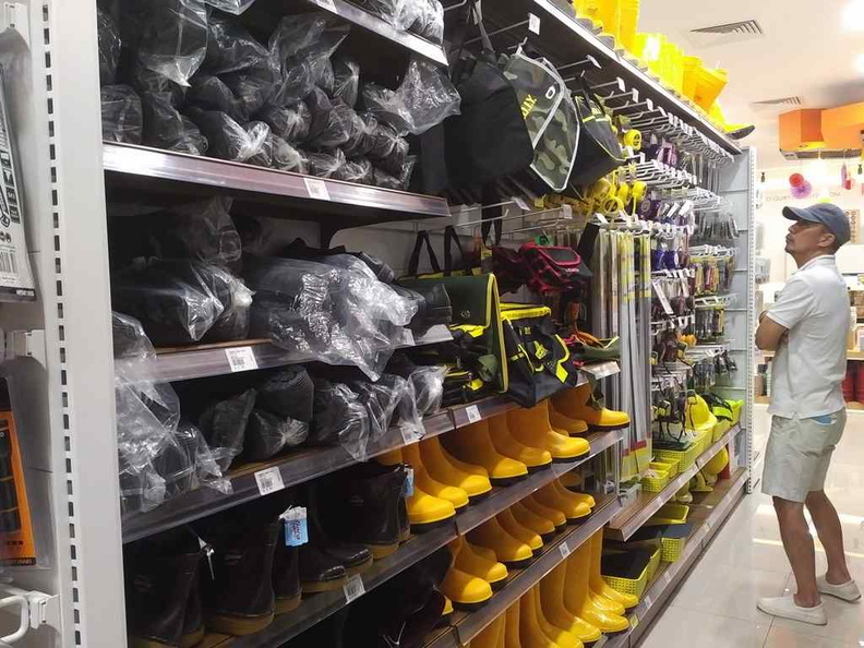 Personal Protection Equipment section, bringing Puah Chu Kang yellow boots to the masses you say
