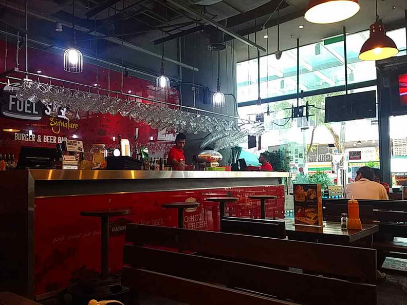 The restaurant interior and setting of Fuel Shack Signature Burger & Beer Ba