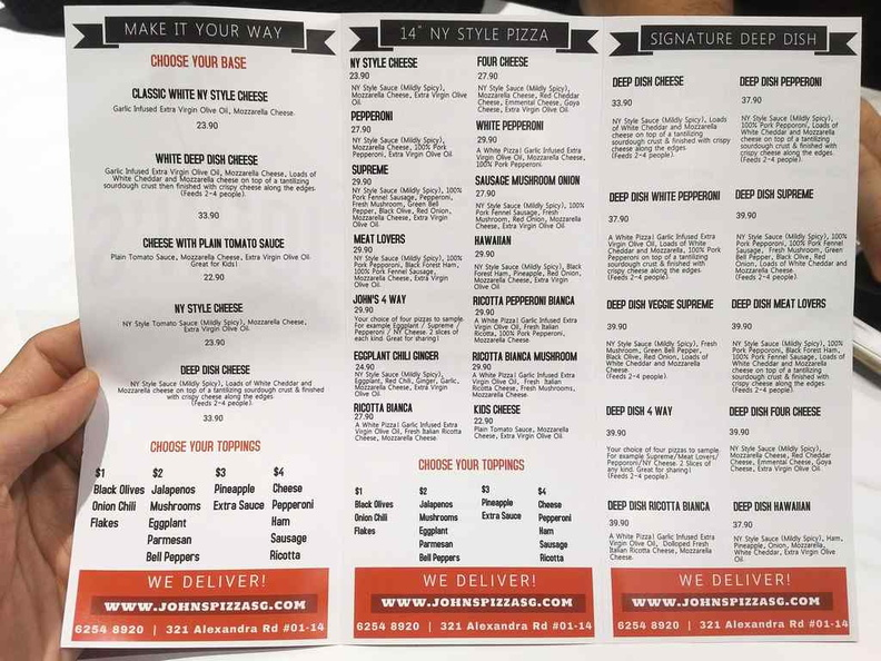 John's menu selections offering a choice of 12 inch New york style pizzas as well as their Deep dish options.