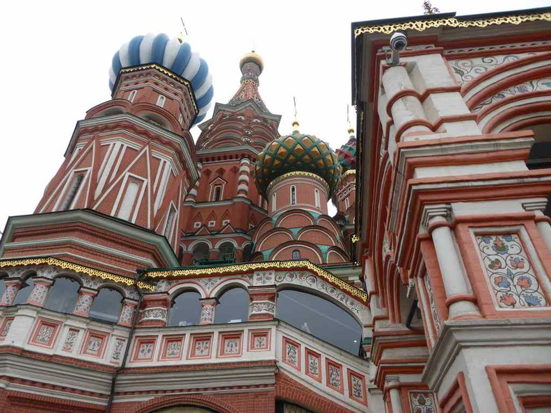 Close up of the St. Basil's cathedral wacky colour scheme. The cathedral is a museum and occasionally used for service