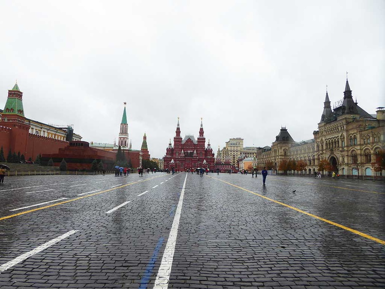 The vast Moscow Red Square, with the Grand Kremlin on the left and State hermitage museum in the distance