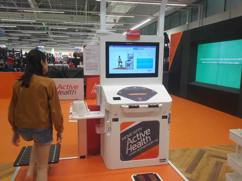 Doing the Active Health test. It is a self-help machine available 24 hours a day