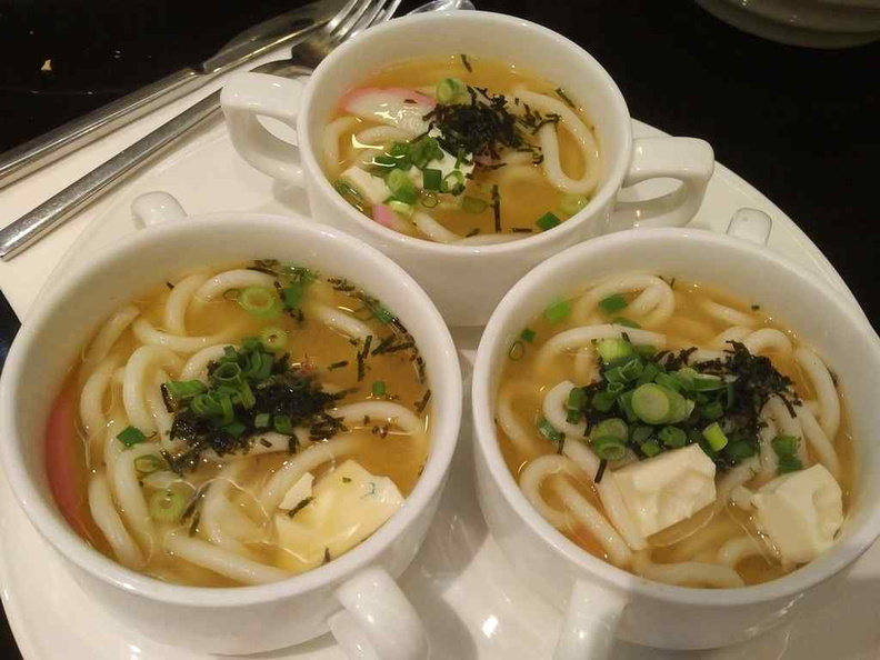 The counter staff chef-prepared Miso soups with Udon