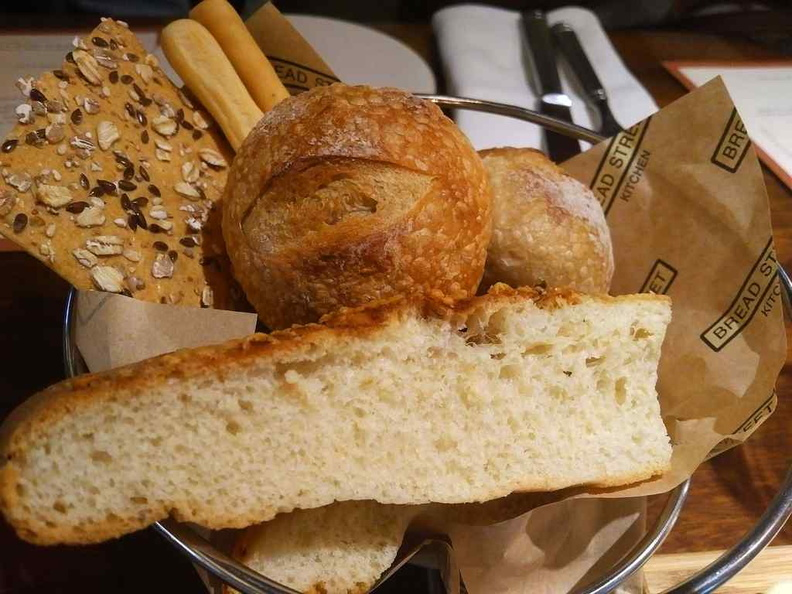 Complimentary Butter and Bread bucket served as a starting appetizer