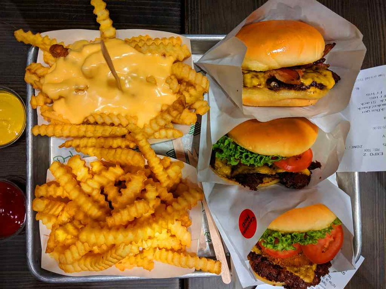 Meet the Burgers- the Regular Smoke Shack (Applewood), Shack Burger and the mega Shack Stack