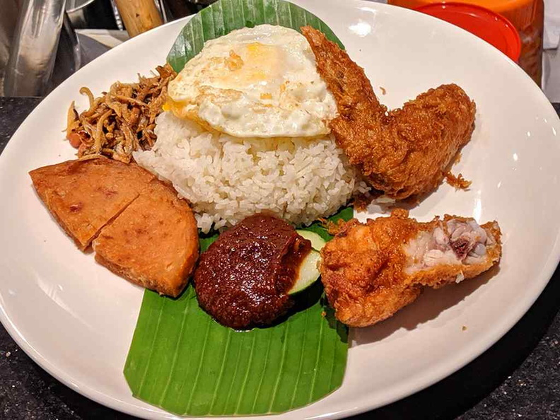 Nasi Lemak, one of their trademarked and recommended dishes at the establishment, after their prawn noodles.