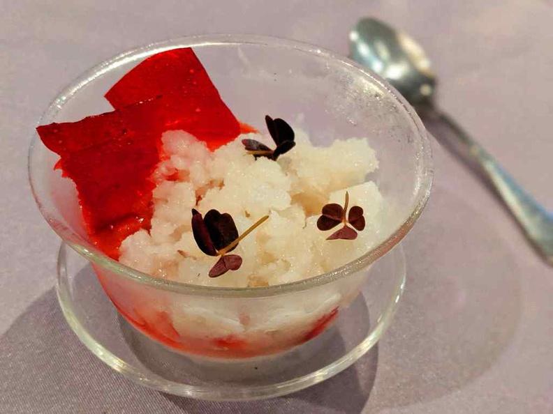 Vanilla Crème and Cherries dessert