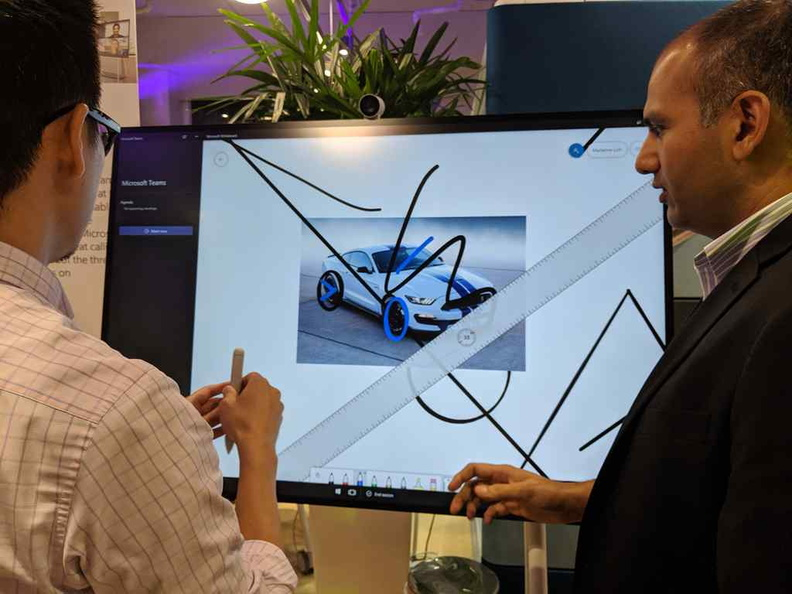 There were several demo stands for users to try our the Microsoft whiteboard and canvas software