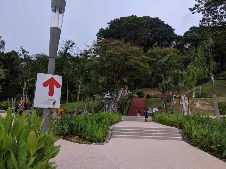 The route from Fort canning MRT. Clearly labelled helpful signs guide you up to the venue, via escalators