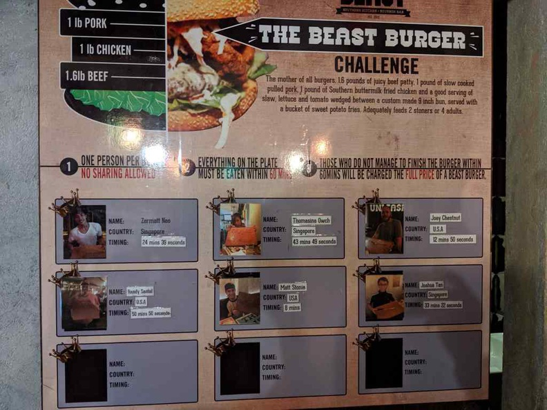 Beast burger challenge board and hall of fame