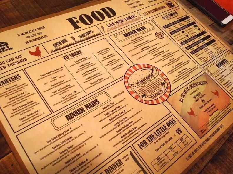 Beast southern kitchen menu offerings
