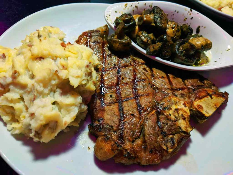 Their rib-eye steaks ($34) are really huge, served with potatoes and grilled mushrooms