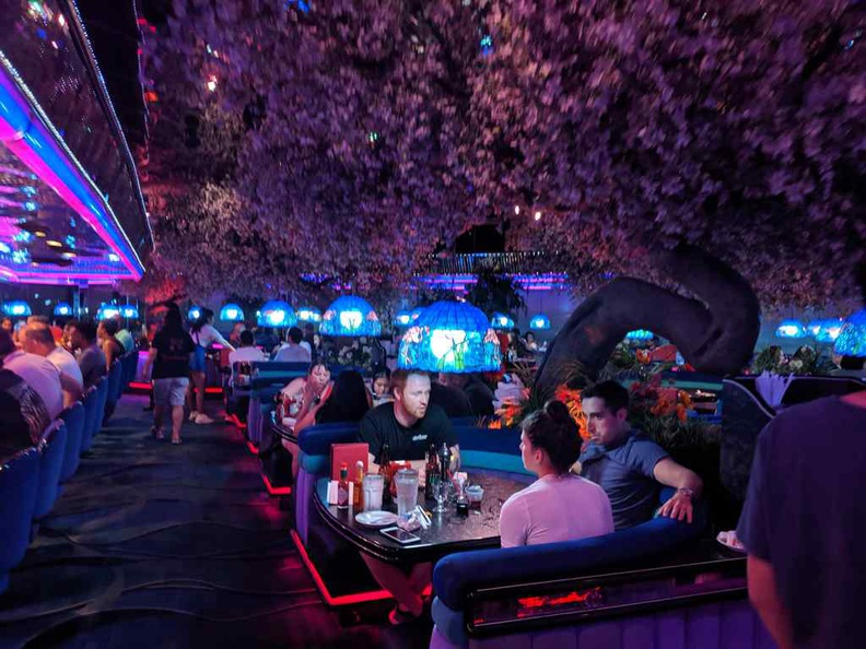 Peppermill Fireside Lounge Seating booths, it has a really cool vibe to it