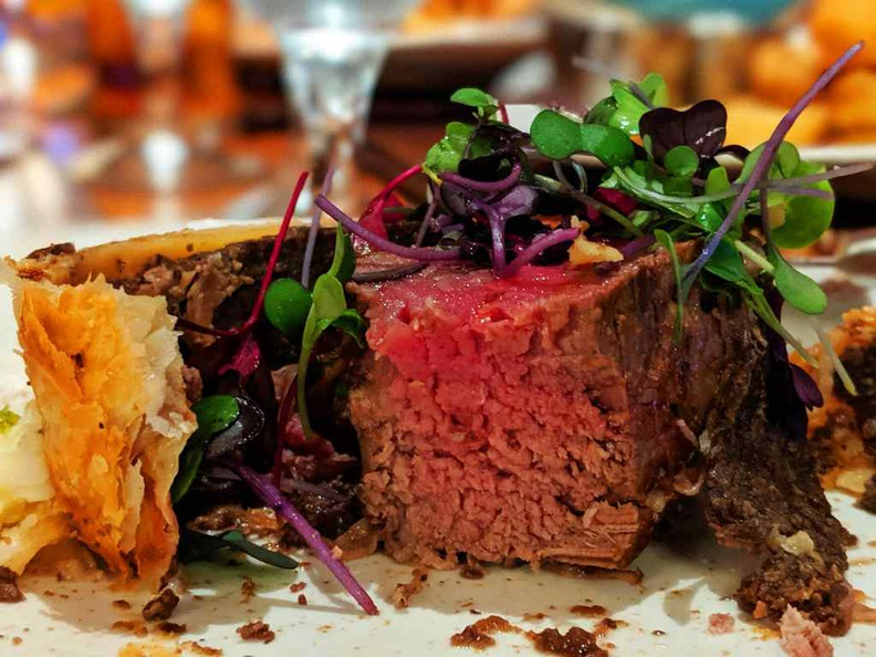 Gordon's Beef Wellington ($59). It is a highly recommended dish to have here. Your dish comes served with mashed yukon gold potatoes, root vegetables and doused with red-wine demi sauces
