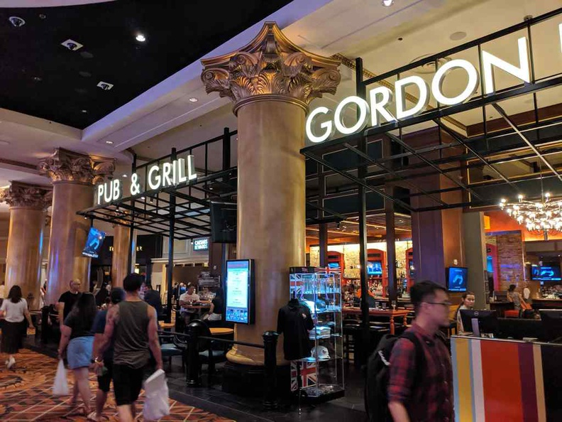 The store front of Gordon Ramsay's Pub and Grill casual dining restaurant at Caesars Palace in Las Vegas Nevada