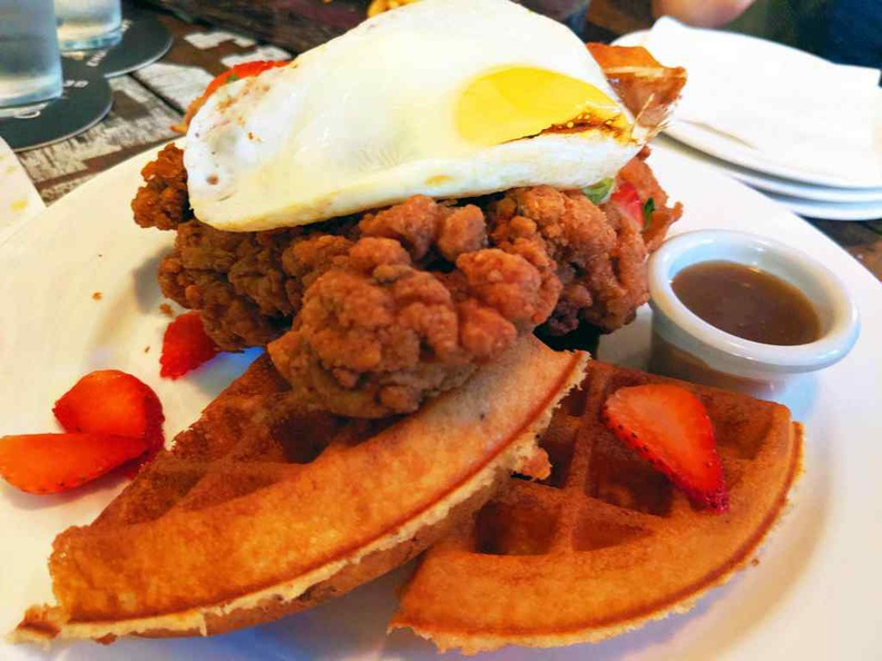Chicken and waffles ($20), a rather southern trademark mix of fried chicken fillets served with rather crispy freshly baked waffles