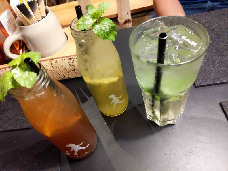Hans im Glück cold drinks as part of your set meal. Note the metal straws and refreshing mint leaves