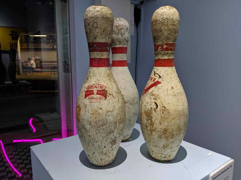 Savaged bowling pins from the entertainment centerSavaged bowling pins from the entertainment center which closed and was demolished int he late 90s.