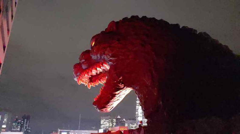 Godzilla doing his hourly roar thing at night