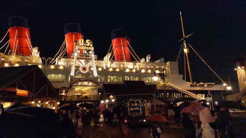 US steamship mock up at night