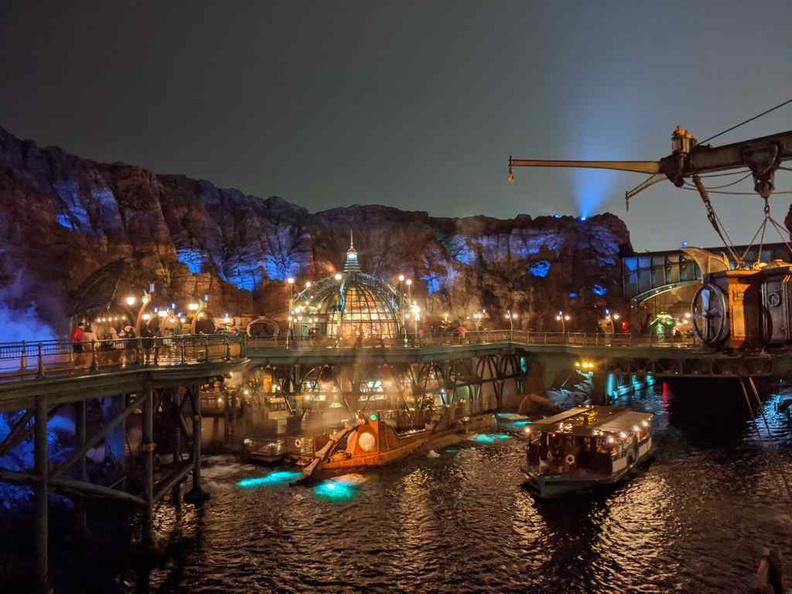 The Mysterious Island and Mount Prometheus nicely lit at night