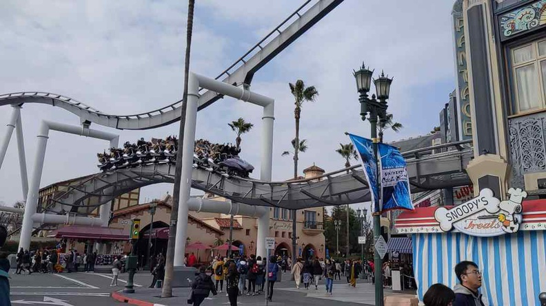 Universal Studios Osaka Japan Hollywood dream Roller Coaster running through the main street area in the Hollywood sector