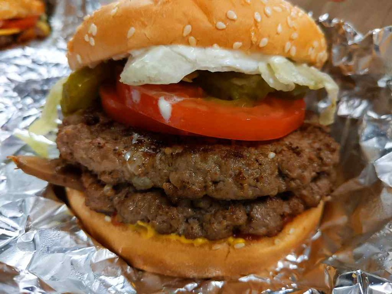 Five guys iconic Cheeseburger with all the works. Note it comes as a double patty as standard