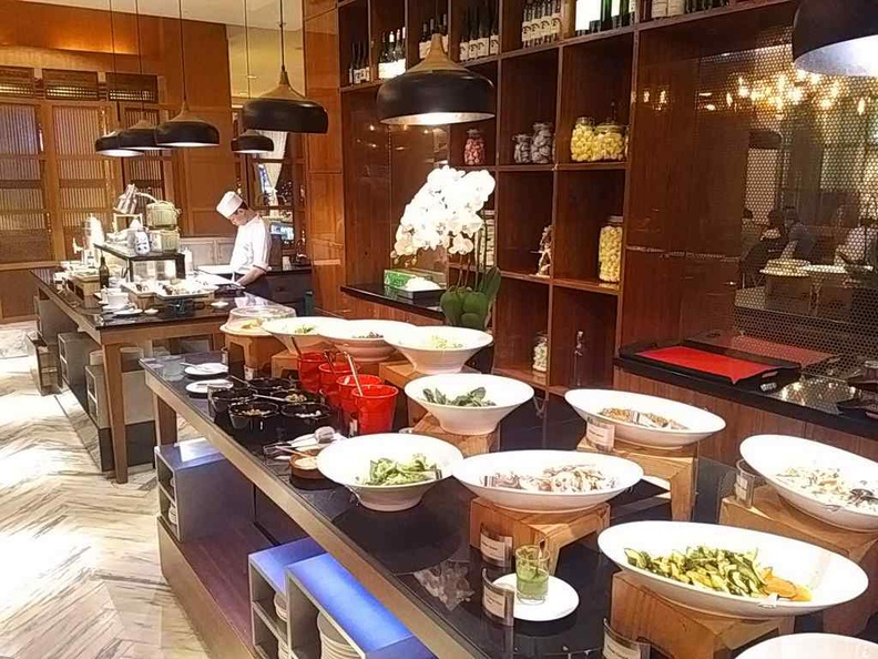 The buffet salad and dessert sections