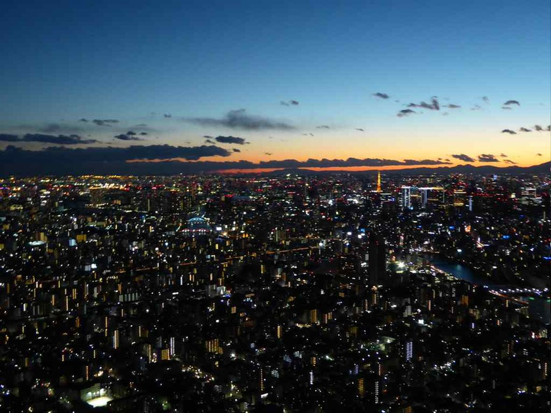 View at the top of Skytree in the evening