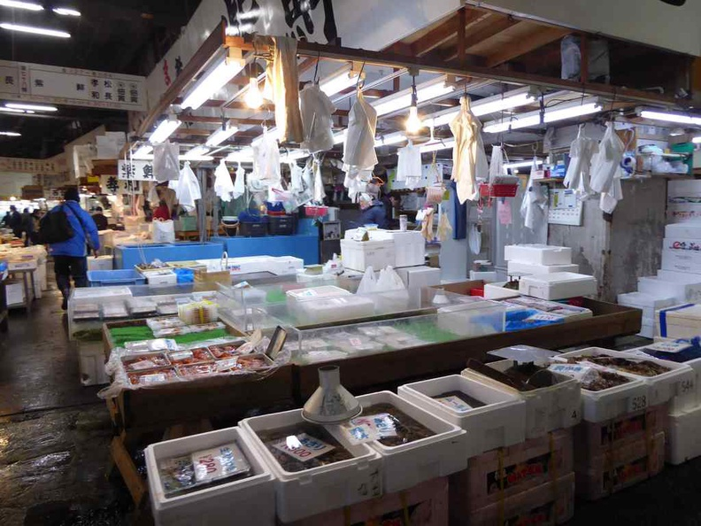 Stalls in the old Tsukiji market