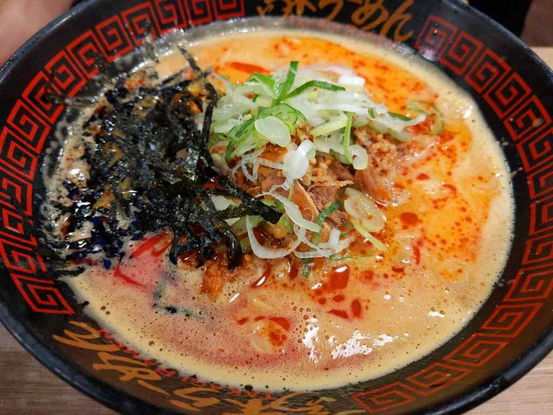 Tantanmen Ramen, a spicy potpourri of blended sesame chilli oil, peanuts and fermented beans. It can get pretty spicy