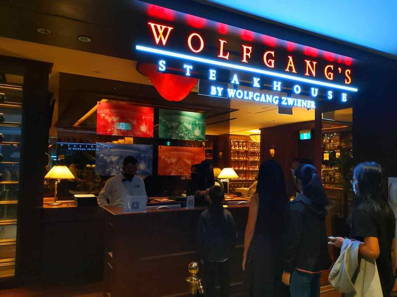 Welcome to Wolfgang steakhouse burgers! The restaurant front entrance, looking posh