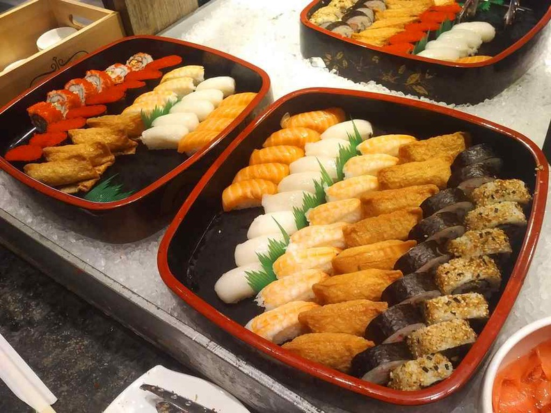 J65 JEN buffet Sushi platters on ice with a good mix of selections