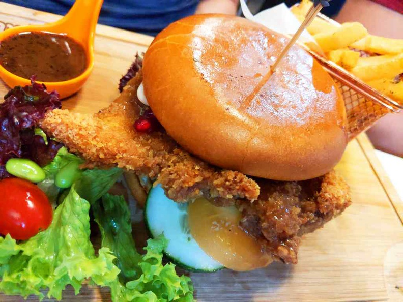 Molten double crispy chicken burger ($13)